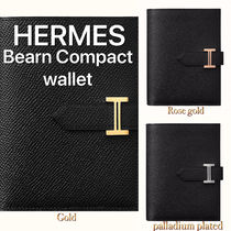 HERMES Bearn Unisex Calfskin Plain Folding Wallet Bridal Logo