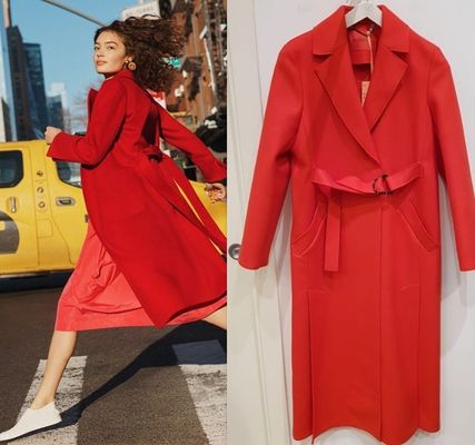 Plain Long Party Style Trench Coats