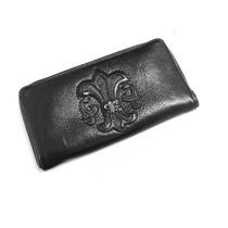 CHROME HEARTS BS FLARE Unisex Calfskin Street Style Plain Leather Long Wallet  Logo