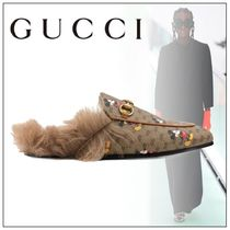 GUCCI Monogram Casual Style Fur Leather Party Style Elegant Style