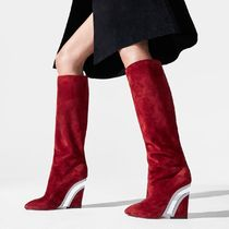 Christian Louboutin Casual Style Suede Plain Leather Elegant Style Wedge Boots
