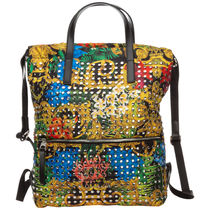 VERSACE Casual Style Studded Street Style Logo Backpacks