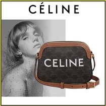 CELINE Triomphe Canvas Casual Style Calfskin Canvas Leather Elegant Style Crossbody