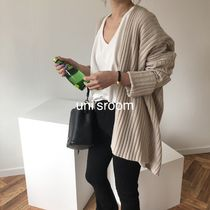 Casual Style Rib Dolman Sleeves Long Sleeves Plain Cotton
