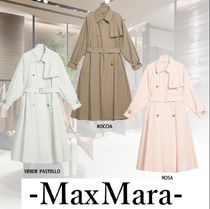 MaxMara Casual Style Nylon Blended Fabrics Plain Long Office Style