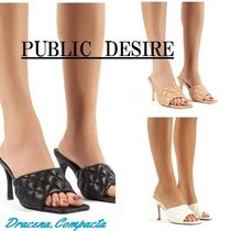 PUBLIC DESIRE Square Toe Casual Style Plain Elegant Style Heeled Sandals