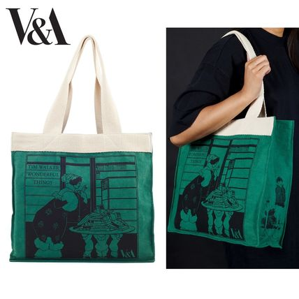 Casual Style Unisex Collaboration Logo Totes
