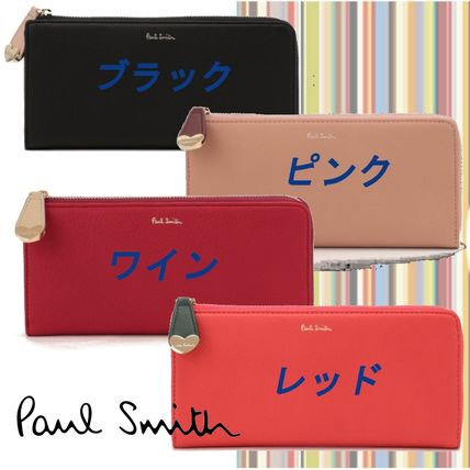 Heart Unisex Plain Leather Long Wallet  Logo Long Wallets