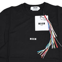 MSGM Crew Neck Pullovers Street Style Plain Cotton Short Sleeves