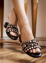 Uterque Open Toe Casual Style Leather With Jewels Elegant Style