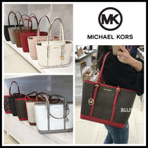Michael Kors JET SET TRAVEL Monogram Casual Style Plain Leather Office Style