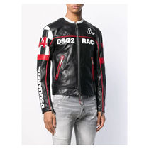 D SQUARED2 Street Style Leather Logo Biker Jackets