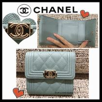 CHANEL BOY CHANEL Unisex Calfskin Plain Small Wallet Folding Wallets