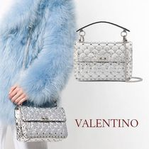 VALENTINO Lambskin Studded 2WAY Chain Plain Party Style Elegant Style