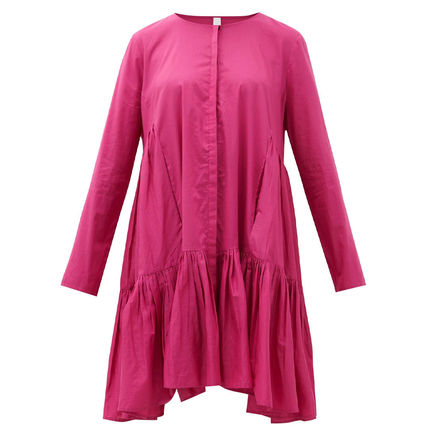 A-line Flared Long Sleeves Plain Cotton Tired Dresses