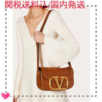 VALENTINO Calfskin 2WAY Plain Crossbody Logo Shoulder Bags