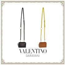 VALENTINO Unisex Plain Leather Long Wallet  Logo Coin Cases