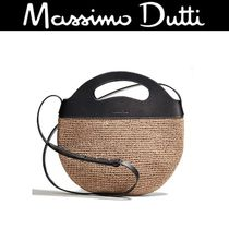 Massimo Dutti Lambskin 2WAY Plain Leather Crossbody Logo Straw Bags