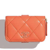 CHANEL Leather Logo Coin Cases