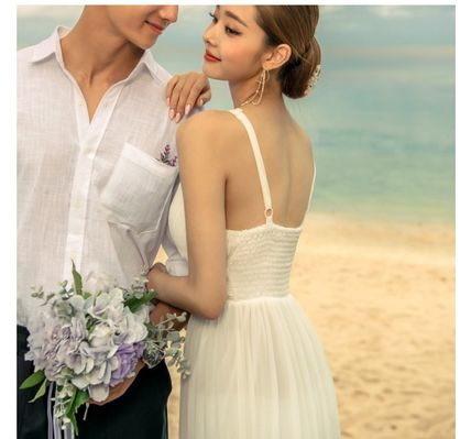 Maxi Sleeveless Halter Neck Plain Long Wedding Dresses