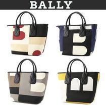 BALLY Casual Style Canvas 3WAY Leather Crossbody Logo Totes