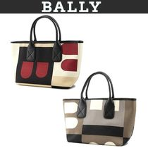 BALLY Casual Style Canvas Leather Logo Totes