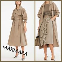 MaxMara Plain Long Office Style Elegant Style Trench Coats