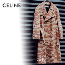 CELINE Camouflage Street Style Long Oversized Military Trench Coats