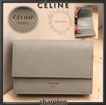 CELINE Unisex Calfskin Plain Leather Folding Wallet Small Wallet