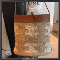 CELINE Triomphe Casual Style Unisex Calfskin Canvas Blended Fabrics 2WAY