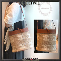 CELINE Triomphe Unisex Calfskin Canvas Blended Fabrics Tassel 2WAY Bi-color