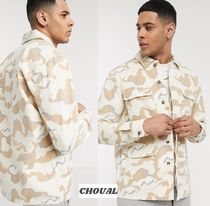 TOPMAN Button-down Camouflage Street Style Cotton Short Sleeves