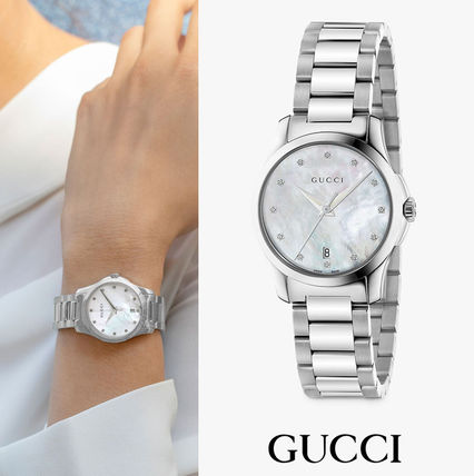 GUCCI Casual Style Unisex Street Style Round Quartz Watches