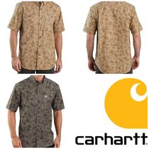 Carhartt Camouflage Cotton Short Sleeves Logo Front Button Shirts
