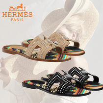 HERMES Oran Open Toe Casual Style Leather Party Style Office Style