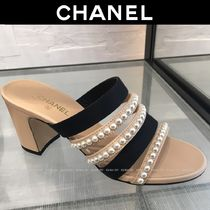CHANEL Open Toe Plain Party Style With Jewels Elegant Style
