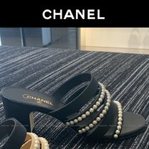 CHANEL Open Toe Plain Party Style With Jewels Elegant Style Sandals