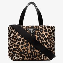 PRADA Leopard Patterns Nylon Blended Fabrics 3WAY Party Style