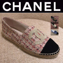 CHANEL ICON Platform Plain Toe Casual Style Tweed Blended Fabrics