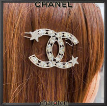 CHANEL ICON Costume Jewelry Barettes Blended Fabrics With Jewels