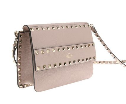 Calfskin Studded 2WAY Elegant Style Logo Shoulder Bags