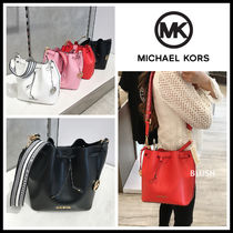 Michael Kors Casual Style 2WAY Plain Leather Office Style Elegant Style