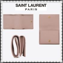Saint Laurent Calfskin Folding Wallet Small Wallet Logo Folding Wallets