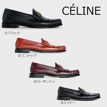 CELINE Triomphe Round Toe Plain Leather Loafer & Moccasin Shoes