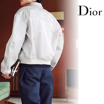 Christian Dior Short Plain Logo Metallic Varsity Jackets