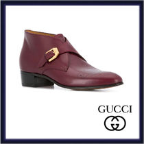 GUCCI Plain Toe Plain Leather Bold Bridal Logo Chukkas Boots