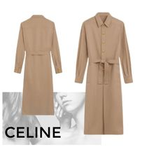 CELINE Casual Style Long Sleeves Plain Cotton Medium Front Button