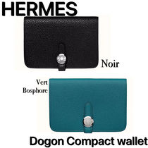 HERMES Dogon Unisex Calfskin Plain Folding Wallet Bridal Folding Wallets