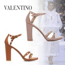 VALENTINO Studded Leather Block Heels Party Style Elegant Style