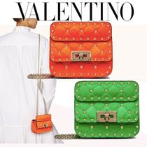 VALENTINO Casual Style Calfskin 3WAY Plain Leather Party Style
